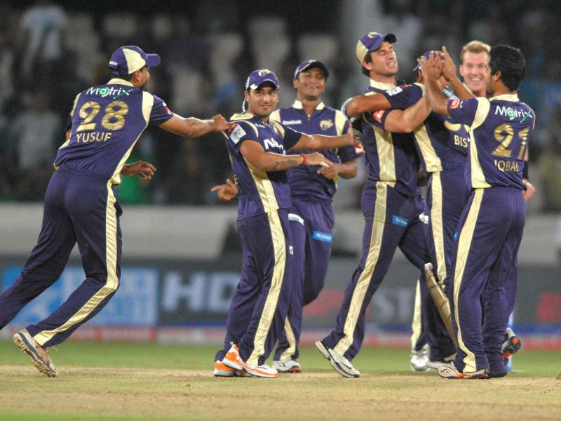 KKR celebrates the dismissal of MJ Guptil of Auckland Aces during the CLT20 Cricket match at the Rajiv Gandhi International Cricket Stadium in Hyderabad.