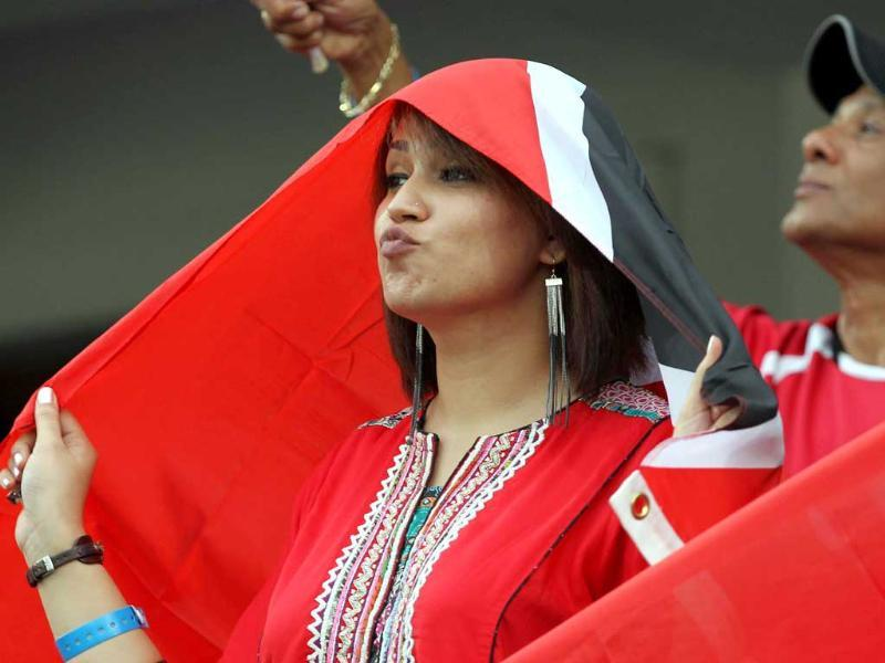 Trinidad and Tobago supporters during the Champions League T20 match between Trinidad and Tobago and Leicestershire Foxes at the Rajiv Gandhi International Cricket stadium in Hyderabad.