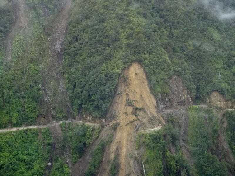 An aerial view of a landslide on a road on the outskirts of Gangtok, after an earthquake struck the north-eastern Indian state of Sikkim. Nestling in the Himalayas between Nepal, Tibet and Bhutan, Sikkim is a region of mountain myths, Buddhist monasteries and scattered communities far outside the mainstream.