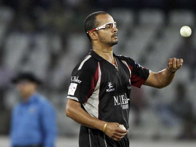 Somerset bowler Murali Kartik spins the ball during the Champions League Twenty20 cricket qualifying match between Somerset and Auckland in Hyderabad.