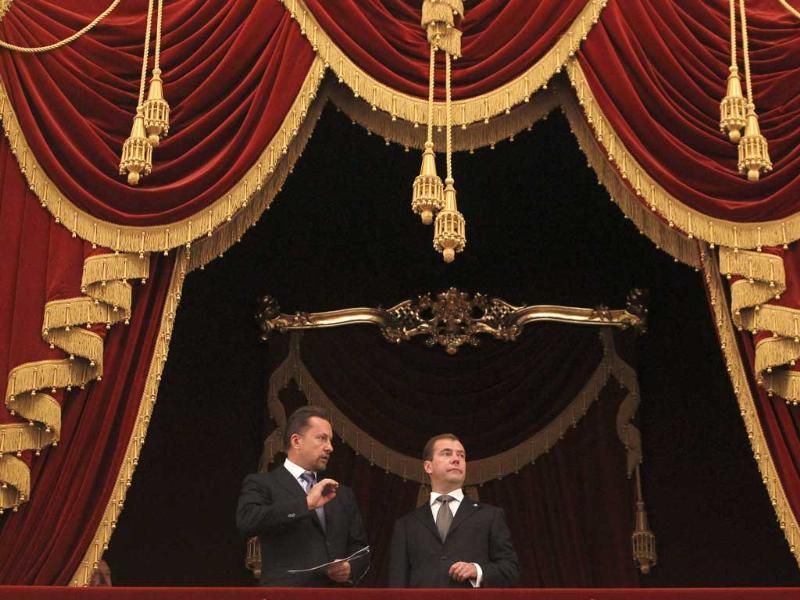 Medvedev visited the Bolshoi Theatre to mark its upcoming re-opening after years of reconstruction.