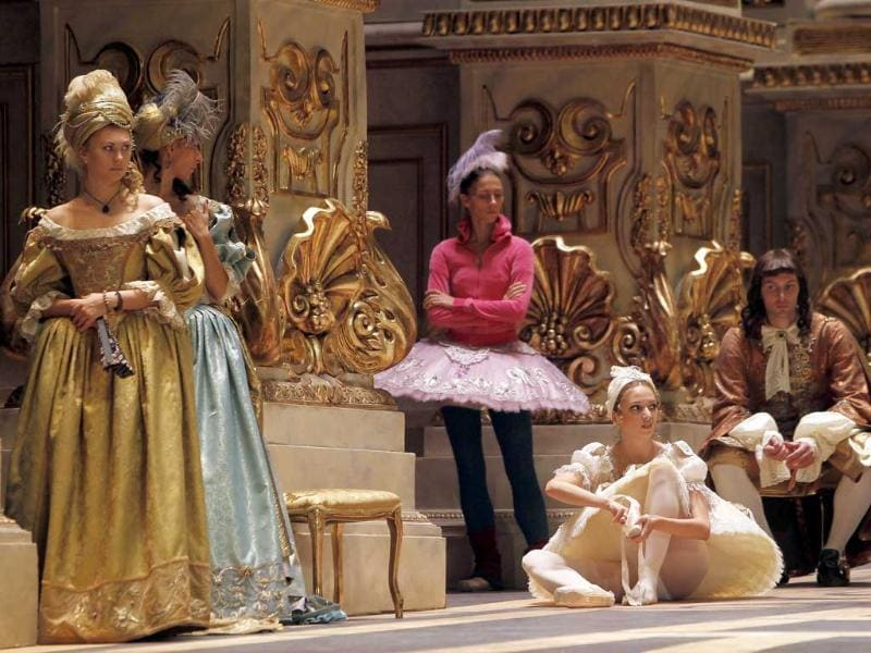 Dancers rehearse The Sleeping Beauty ballet as Russia's President Dmitry Medvedev visits the Bolshoi Theatre.