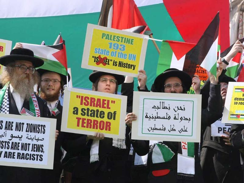 Members of Neturei Karta, a small faction of ultra-Orthodox Jews who oppose Israel's existence, hold placards to express their support for the Palestinian bid for statehood recognition.