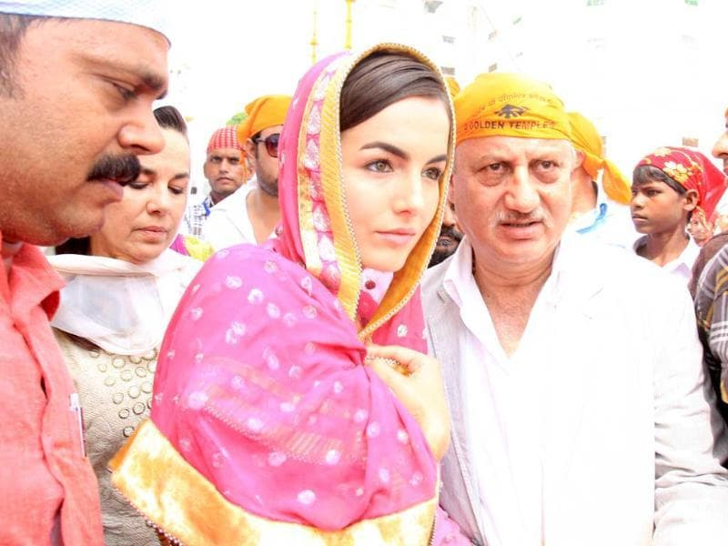 Camilla Belle with Anupam Kher at Golden Temple, Amritsar.