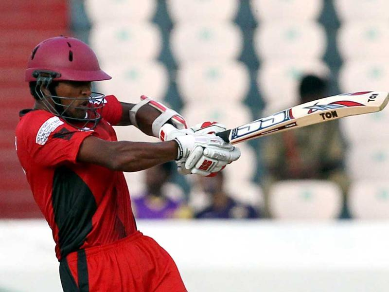 Ruhunu Eleven batsman Chandimal bats during the Champions League T20 match between Leicestershire Foxes and Ruhunu Eleven at Rajiv Gandhi International Cricket stadium at Hyderabad.