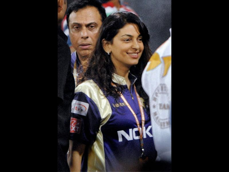 Bollywood star Juhi Chawla of the match between Somerset and Kolkata Knight Riders at Champions League Twenty20, Qualifying Tournament in Hyderabad.