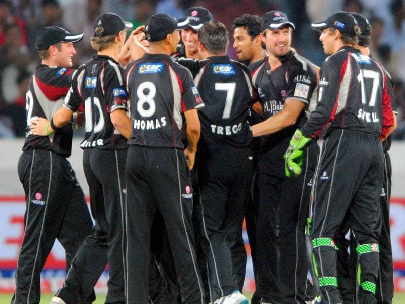 Somerset Team celebrates the dismissal of J Kallis of KKR during their CLT20 match in Hyderabad.