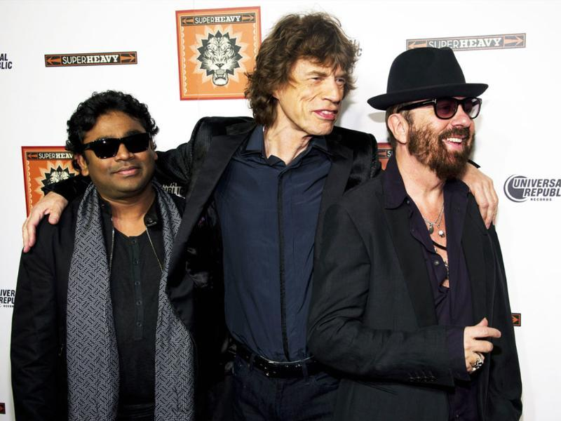 SuperHeavy members AR Rahman, Mick Jagger and Dave Stewart, left to right, attend the release party for their new CD, SuperHeavy, in New York.