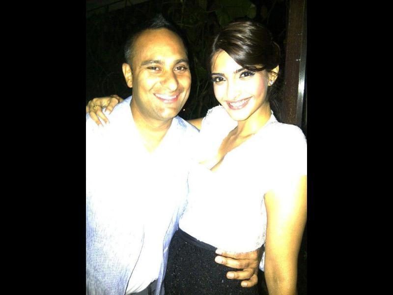 Sonam Kapoor with Speedy Singhs actor Rusell Peters at Akshay Kumar's party.