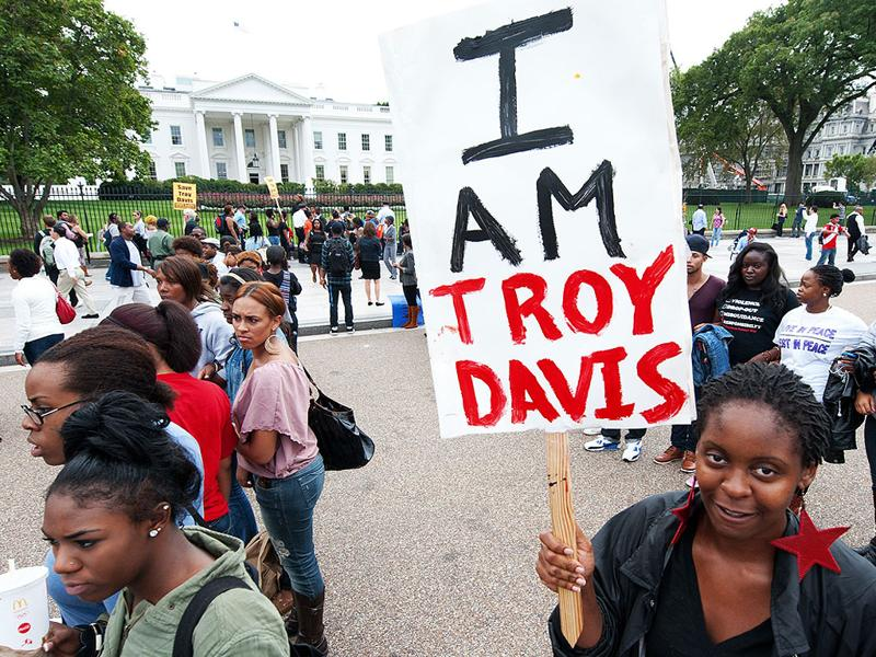 File photo of student protestors from Howard University as they demonstrate outside the White House, demaning a last-minute intervention on behalf of Troy Davis.