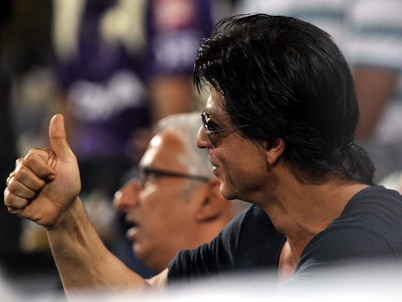 Shah Rukh shows support for his team.