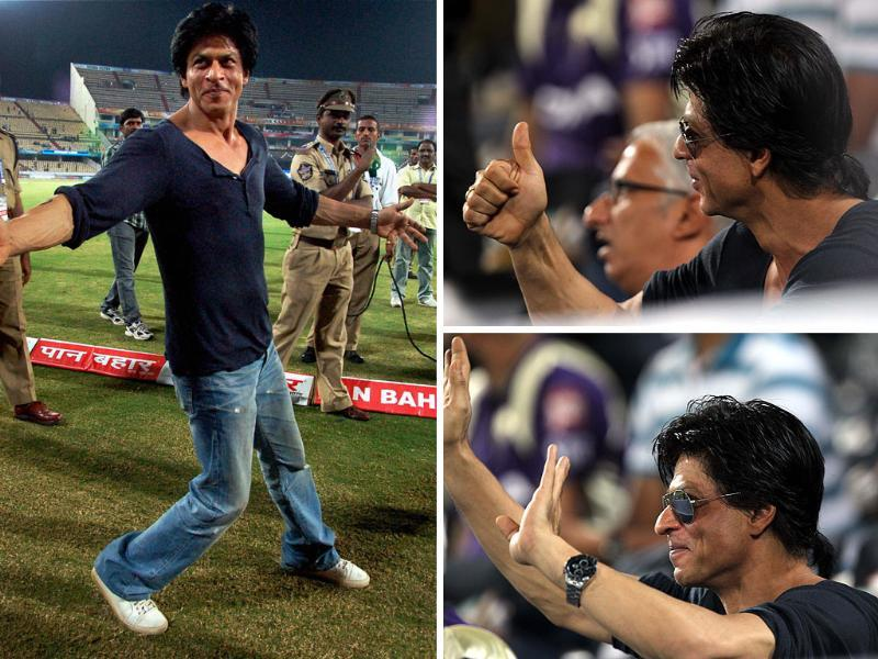Actors Shah Rukh Khan and Juhi Chawla went to Hyderabad to cheer for their team Kolkata Knight Riders during the Champions League Twenty20. Here're some moments captured on candid camera.