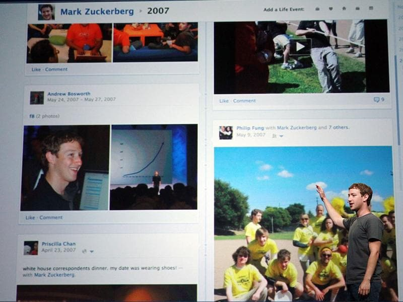 Facebook CEO Mark Zuckerberg shows off the new Timeline as he delivers a keynote address during the Facebook f8 conference on September 22, 2011 in San Francisco, California. Facebook CEO Mark Zuckerberg kicked off the conference introducing a Timeline feature to the popular social network.