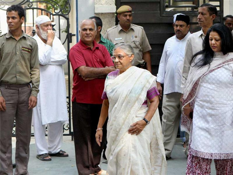 Delhi chief minister Sheila Dikshit attends the funeral procession of Mansoor Ali Khan Pataudi in New Delhi.
