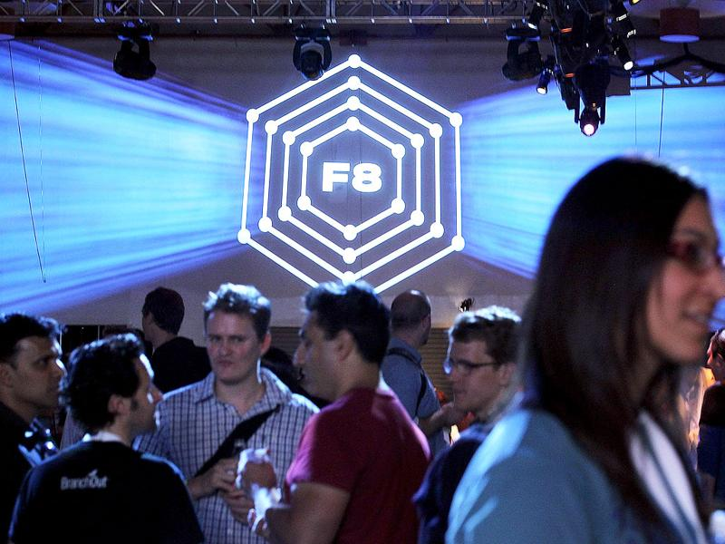 Attendees mingle during the Facebook f8 conference in San Francisco, California.