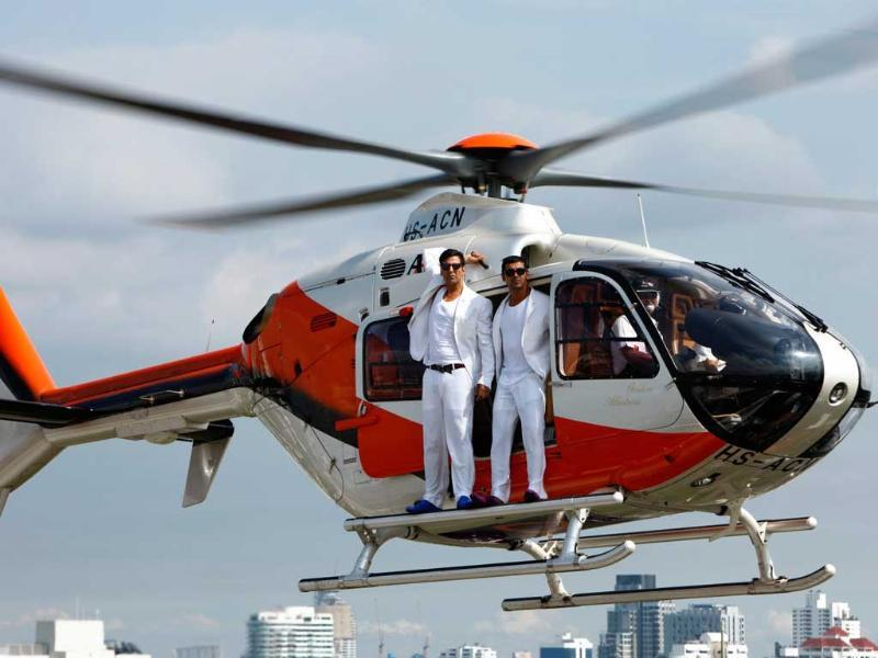 The film recently was in news for John-Akshay's daredevil stunt in a helicopter. They shot without a harness and stood poised at the open door of the chopper with no strapping.