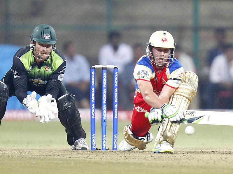 RCB's AB de villers bats during the CLT20 match between Warriors and RCB at M Chinnaswamy Stadium in Bangalore.