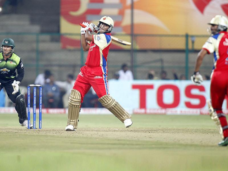 RCB's Saurabh Tiwary bats during the CLT20 match in Bangalore.