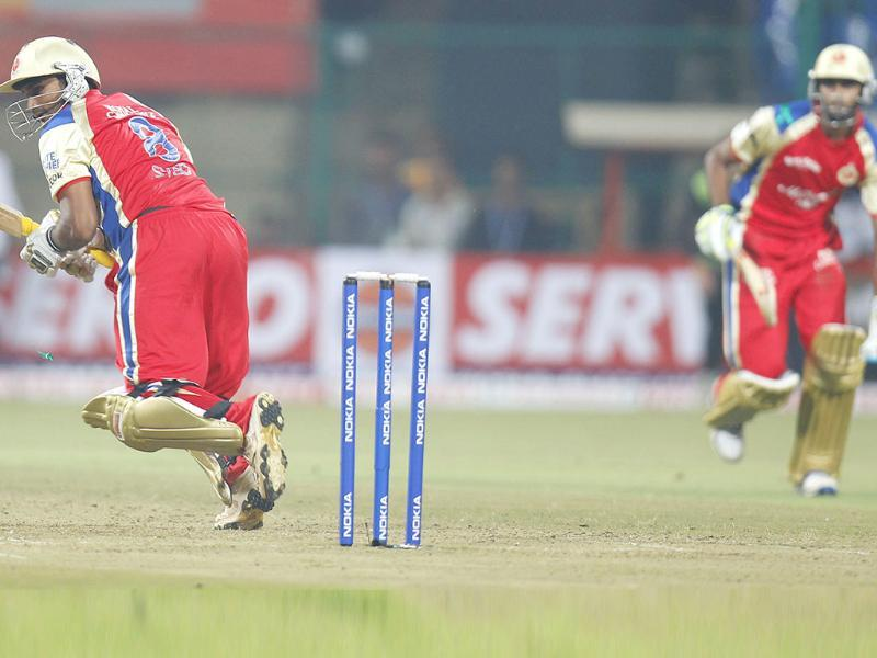 RCB's Syed Mohammed bats during the CLT20 match between Warriors vs RCB in Bangalore.