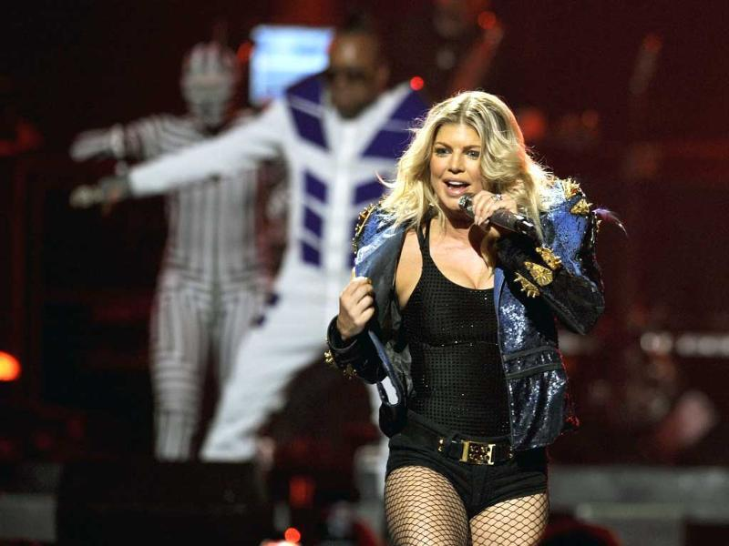 Fergie and the Black Eyed Peas perform during the iHeartRadio music festival in Las Vegas.