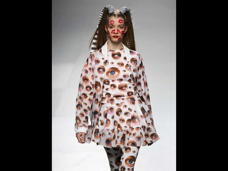 Eye full! A model showcases a printed design at the Madrid fashion week.