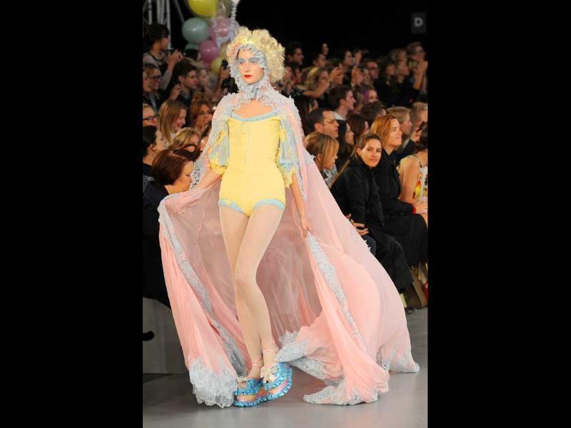 Frill fancy! Pastel and frill bring back youthful charm at London fashion week.