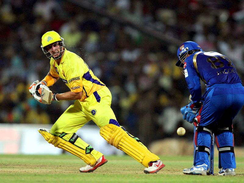 Chennai Super Kings' Mike Hussey bats during their CLT20 match against Mumbai Indians at Chidambaram Stadium in Chennai.