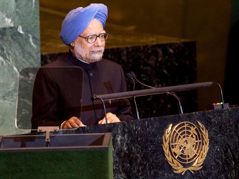 PM Manmohan Singh speaks at the United Nations General Assembly at UN headquarters.