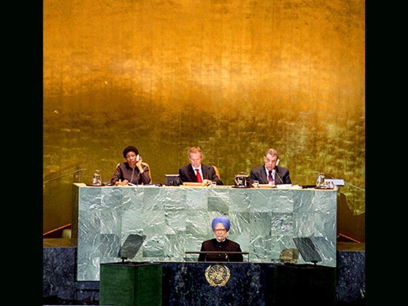 Prime Minister Manmohan Singh addresses the 66th session of the United Nations General Assembly at UN headquarters in New York.