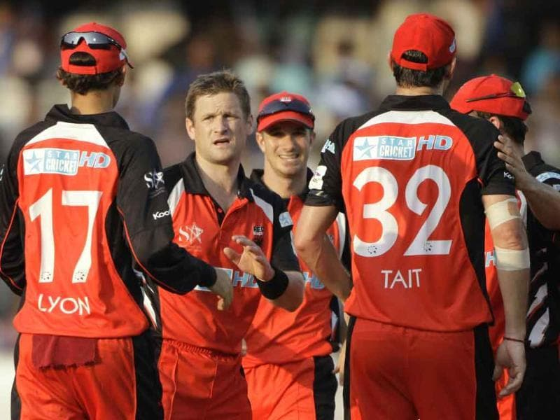 South Australia bowler Daniel Harris celebrates the wicket of Warriors batsman J Smuts during the Champions League Twenty20 cricket match in Hyderabad.