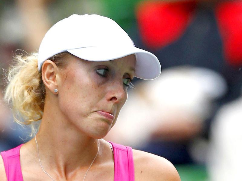 Anastasia Rodionova of Australia reacts during her match against Ana Ivanovic of Serbia at the Pan Pacific Open tennis tournament in Tokyo.