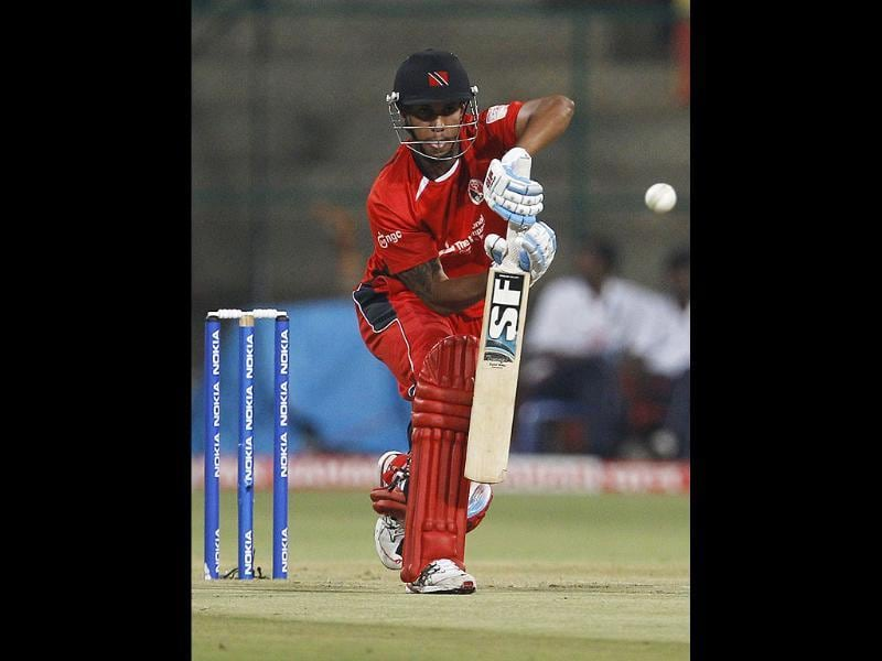 Trinidad and Tobago batsman Lendl Simmons bats during the Champions League Twenty20 cricket match against Mumbai Indians in Bangalore.