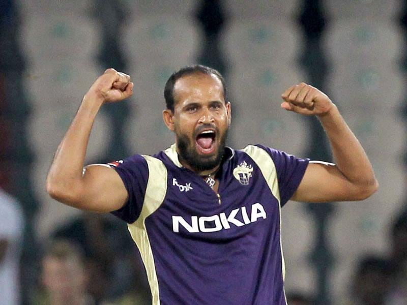 KKR bowler Balaji celebrates the wicket of Redback's batsman Harris during the Champions League match between Kolkata Knight Riders and South Australian Redbacks.