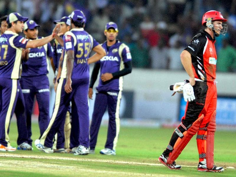Kolkata Knight Riders celebrate the dismissal of South Australia's M Klinger during their Champions League T20 match in Hyderabad.