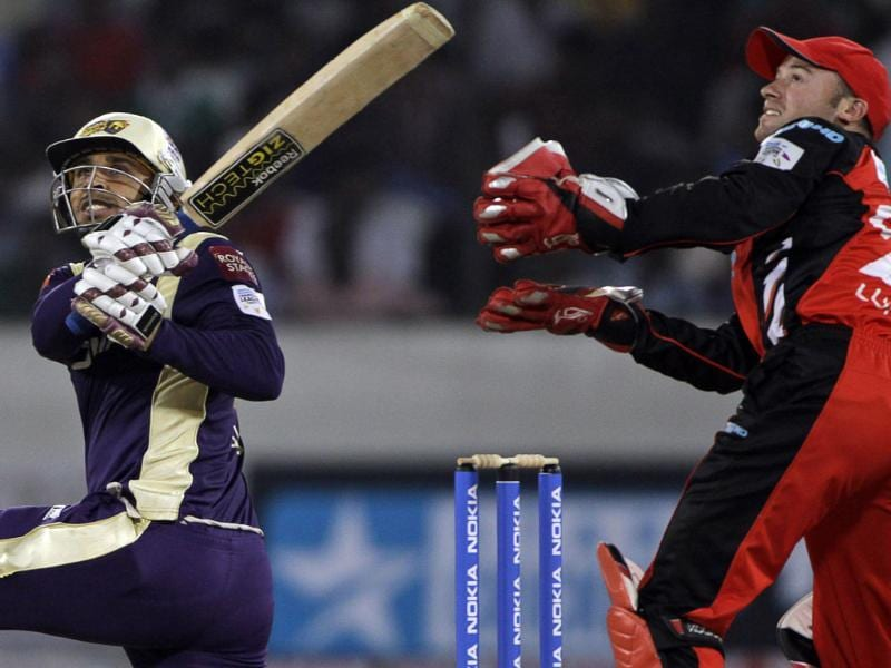Kolkata Knight Riders' Manvinder Bisla plays a shot against South Australian Redbacks during the Champions League Twenty20 cricket match in Hyderabad.