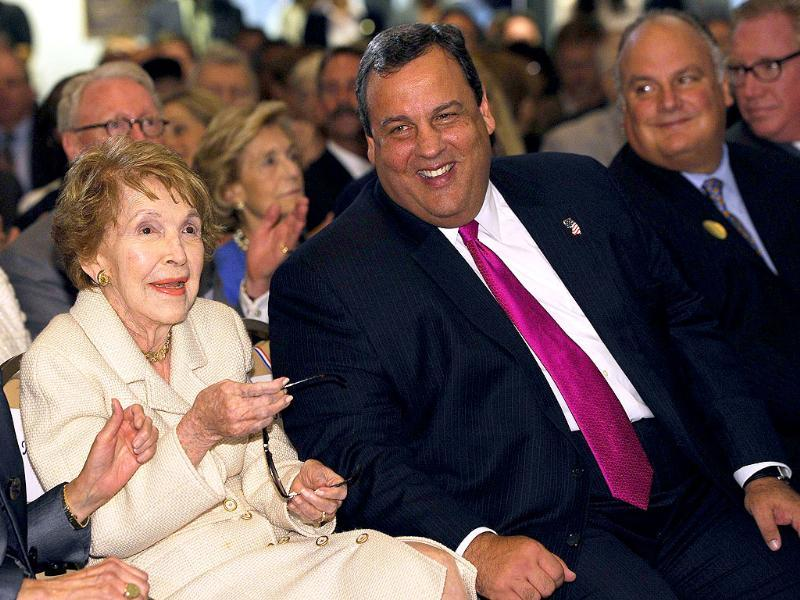 Former first lady Nancy Reagan (L) and Republican New Jersey governor Chris Christie sit together before Christie's speech at the Ronald Reagan Presidential Library and Museum in Simi Valley, California.