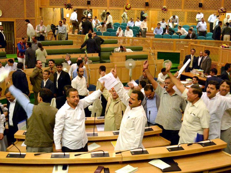 Members in Jammu and Kashmir assembly creating an uproar over the mercy plea of Parliament House convict Afzal Guru soon after the House met.