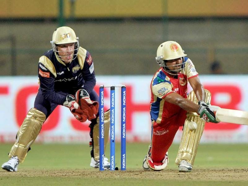 Kolkata Knight Riders' wicketkeeper Brad Haddin watches as Mohammad Kaif of Royal Challengers is bowled out leg before wicket (LBW) during the Champions League Twenty20 League cricket match between Royal Challengers Bangalore and Kolkata Knight Riders at the M. Chinnaswamy Stadium in Bangalore.
