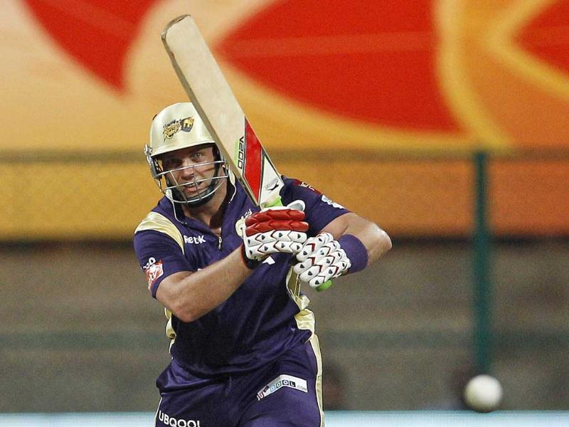 Kolkata Knight Riders' batsman Jacques Kallis watches his shot during their Champions League Twenty20 cricket match against Royal Challengers Bangalore in Bangalore.