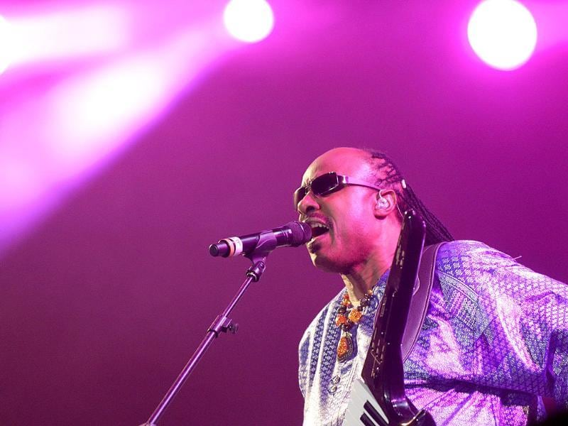 American singer Stevie Wonder performs during the Rock in Rio music festival in Rio de Janeiro, Brazil.