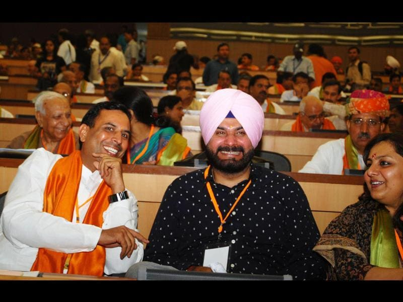 BJP leader Navjot Singh Siddhu and others attend the party's national executive meeting in New Delhi.