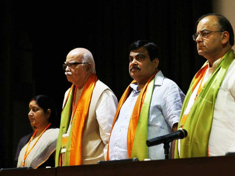 BJP president Nitin Gadkari with senior leaders L K Advani, Sushma Swaraj and Arun Jaitley during party's national executive meeting in New Delhi.