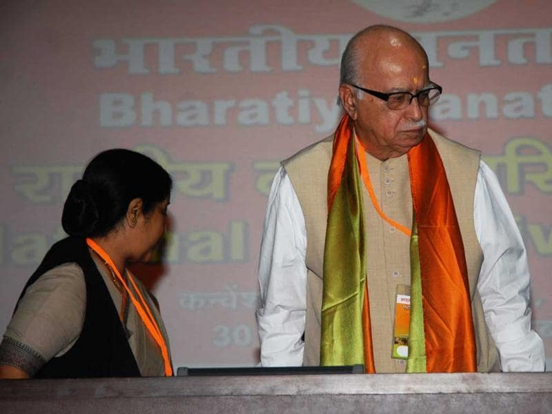 Senior BJP leaders L K Advani and Sushma Swaraj at the Party's National Executive Meeting in New Delhi.