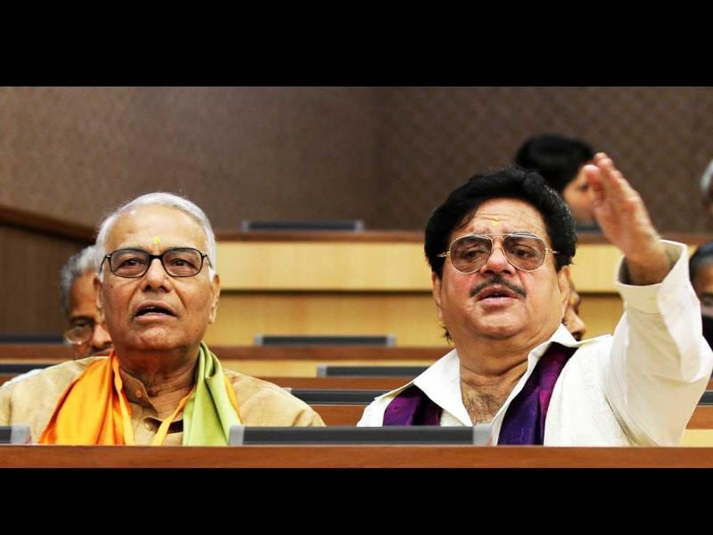 BJP leaders Jaswant Sinha and Shatrughan Sinha attending the party's national executive meeting in New Delhi.