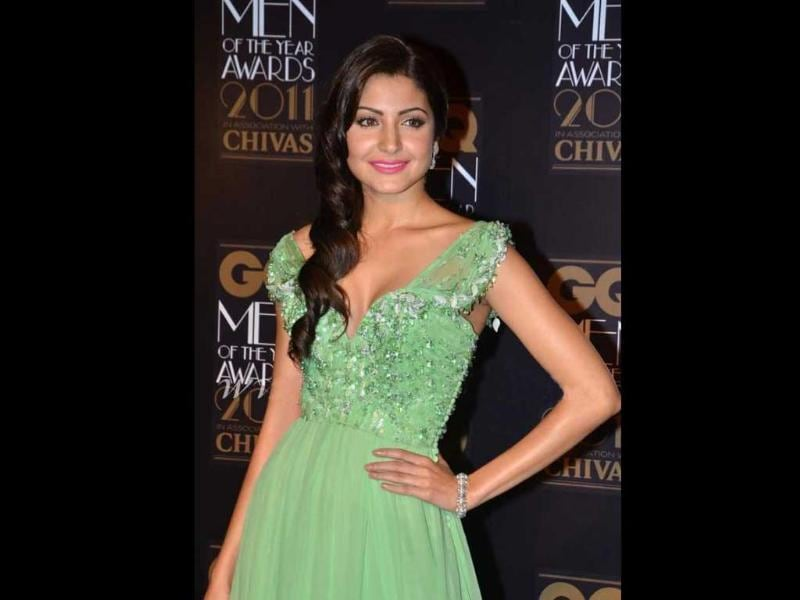 Anushka exudes oomph in a pista-green ball-gown.