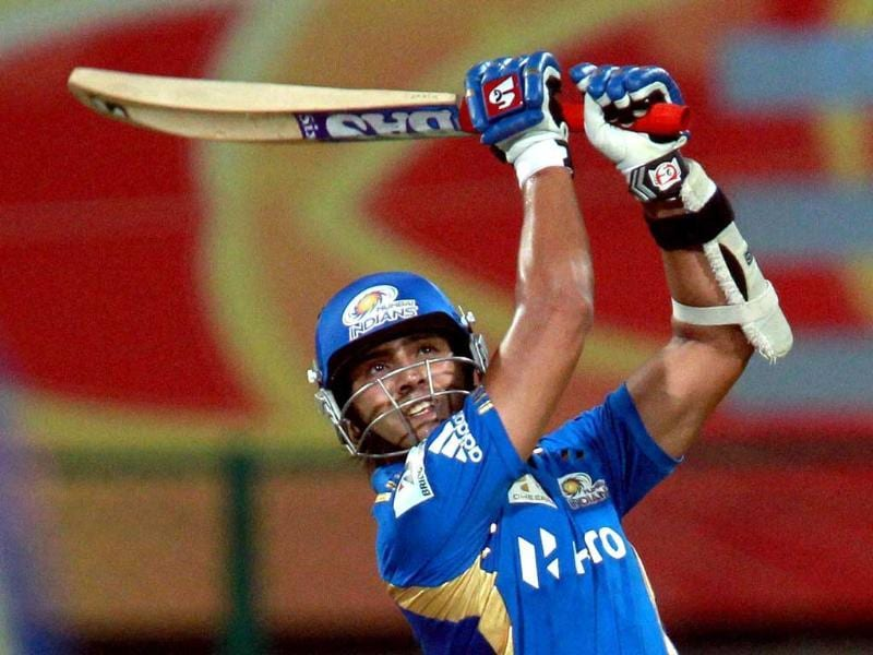 Mumbai Indians Sarul Kanwar plays a shot against Cape Cobras during the Champions League T20-2011 match in Bangalore.
