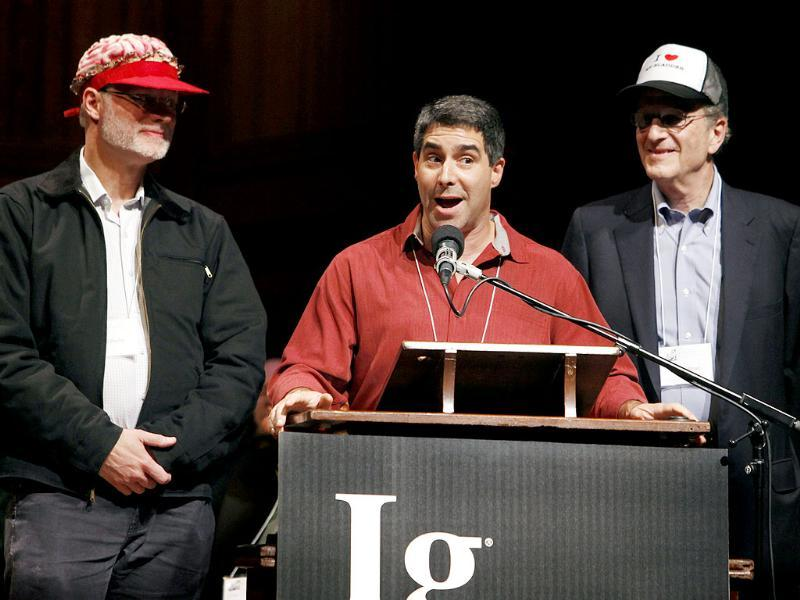 Winners of the Ig Nobel prize for medicine, from left, David Darby, Peter Synder and Robert Feldman give their acceptance speech after receiving an award for studying the effects of holding in urine.