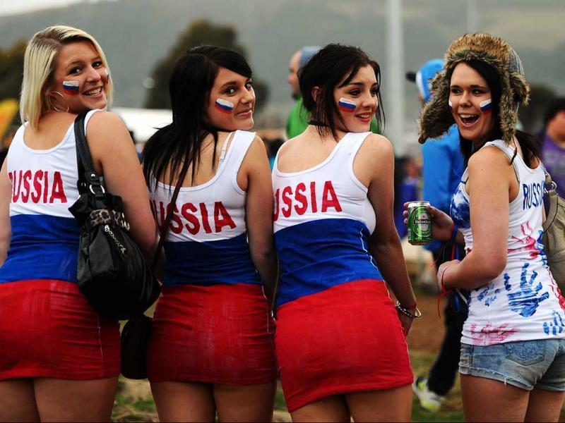 Russian fans attend the 2011 Rugby World Cup pool C match Australia vs Russia at Trafalgar Park in Nelson.