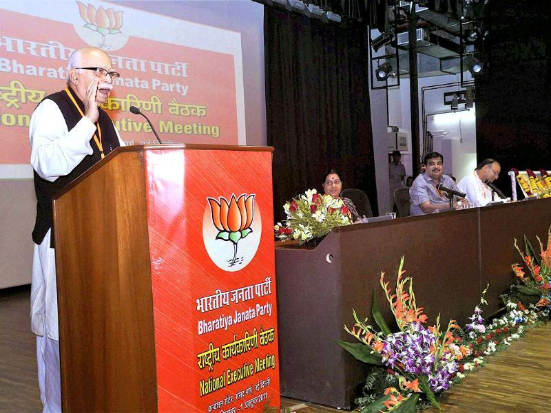 BJP Leader LK Advani addresses party's National Executive Meeting in New Delhi.