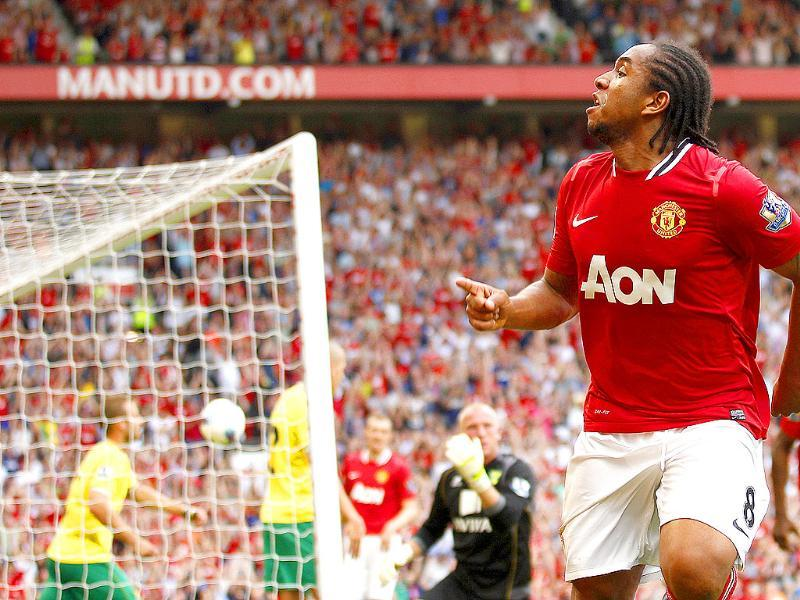 Manchester United's Anderson celebrates scoring against Norwich City during their English Premier League soccer match at Old Trafford Stadium, Manchester in England.